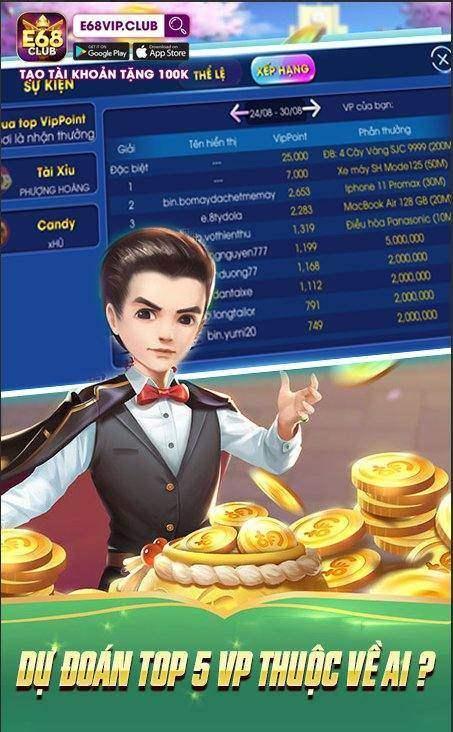 E68 Club giftcode game 30/8/2020: Dự đoán Top 5 – Nhận Code 100k