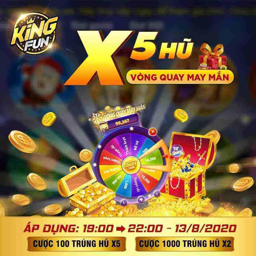 Giftcode game bài King Fun 13/8/2020: Săn hũ X5 – Nhận ngay GIFTCODE