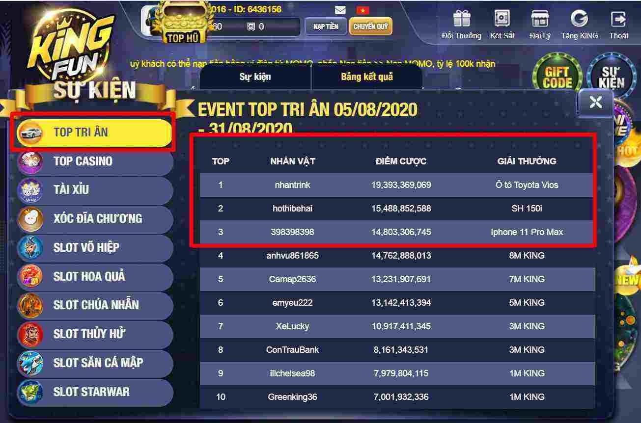 Giftcode game bài King Fun 15/8/2020: Tặng Code đua Top tri ân