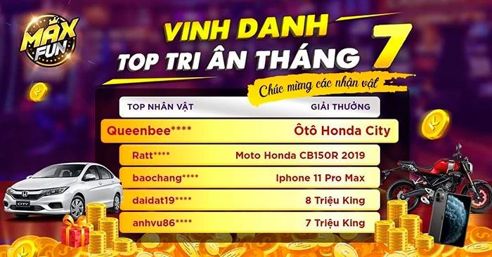 Giftcode game bài King Fun 4/8/2020: Vinh danh Top tri ân tháng 7 – Phát 500 Giftcode