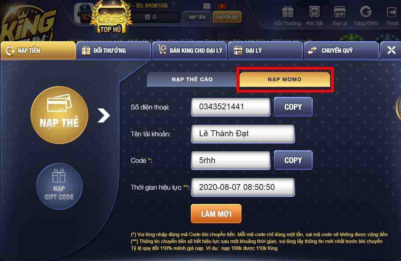 Giftcode game bài King Fun 7/8/2020: Nạp siêu sốc – Nhận ngay Code 10k