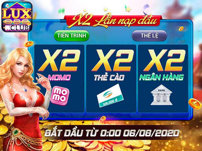 Giftcode game bài LuxClub 5/8/2020: X2 lần nạp đầu – Nhận Lux cực chất