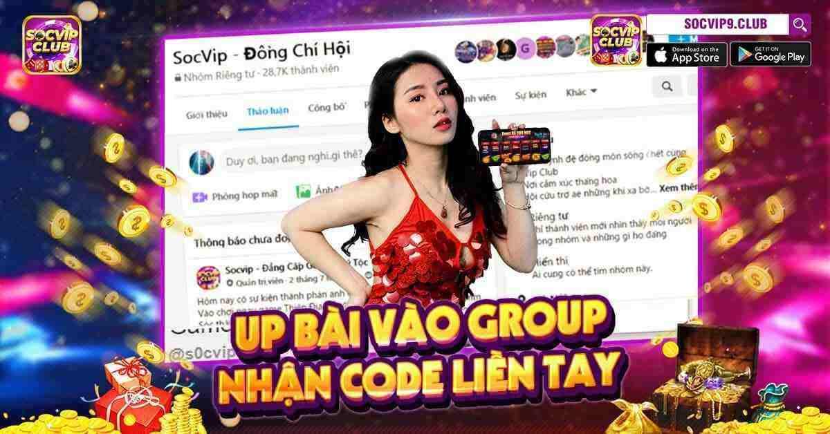 Giftcode game bài SocVip Club 11/8/2020: Up bài vào Group – Nhận Code liền tay