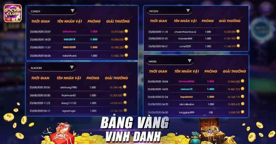 SocVip Club giftcode game 26/8/2020: Vinh danh bảng Vàng – Nhận ngày Code Vip