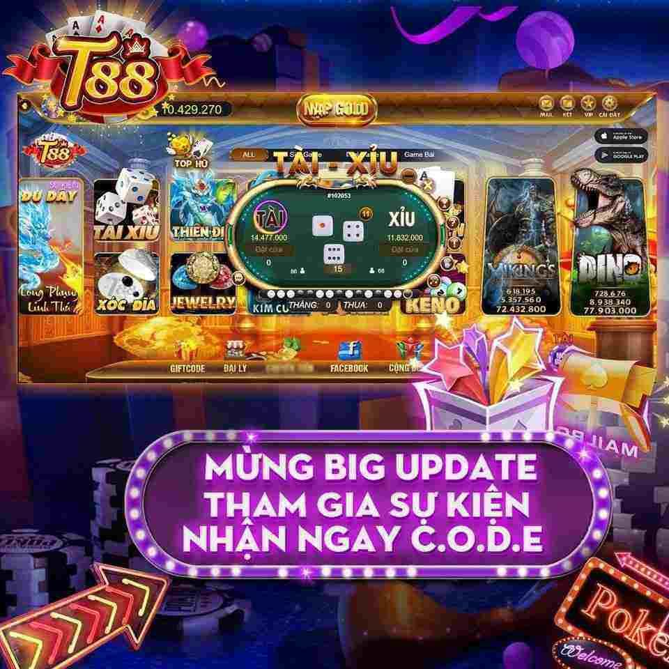 T88 Club giftcode game 26/8/2020: Mừng Big Update – Like Share Nhận Code