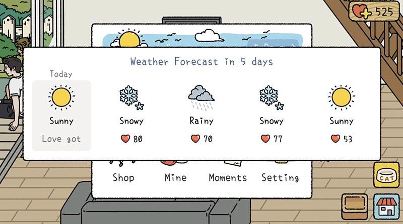 Xem bảng tin thời tiết trong mục Home của game