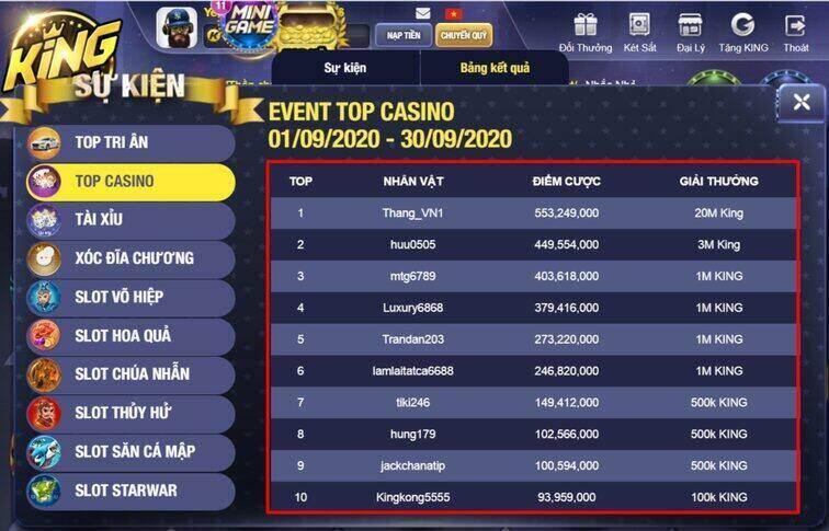 King Fun giftcode game 21/9/2020: Tặng Code cho anh em lên Top