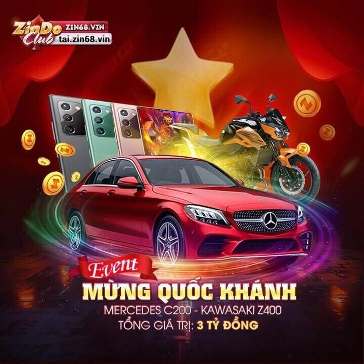 Zindo Club giftcode game 3/9/2020: Event mừng Quốc Khánh – Tặng Mercedes C200