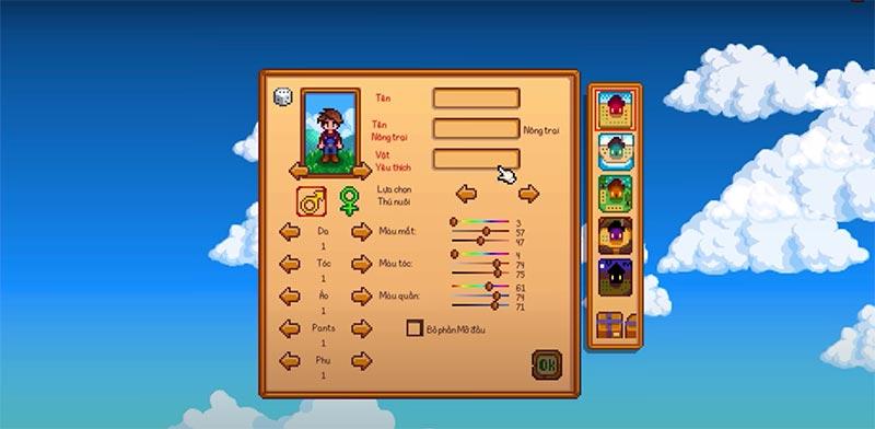 Stardew Valley nhân vật chính khi tạo map