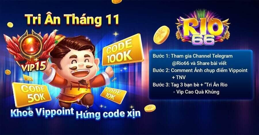 Rio66 Club giftcode game 12/11/2020: Tri ân siêu đỏ tháng 11