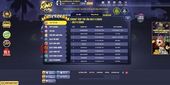 King Fun giftcode game 29/11/2020: Tán Lộc đua Top tri ân tháng 11