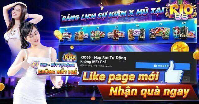 Rio66 Club giftcode game 29/11/2020:  Like Page mới – Nhận quà ngay