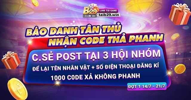 B29 Club giftcode game 20/12/2020: Tặng quà cuối năm – Tân Thủ nhận Code