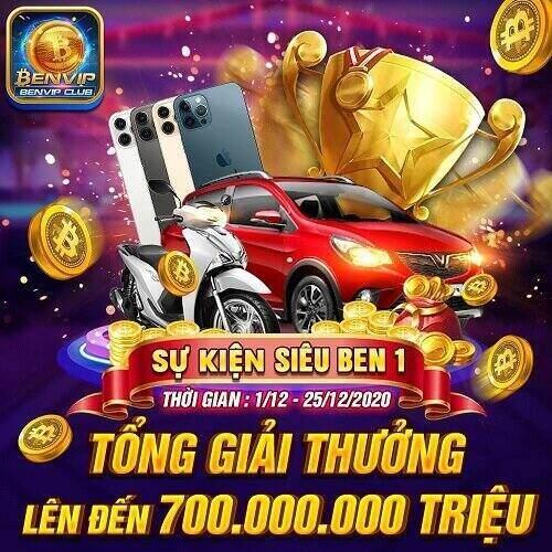 BenVip Club giftcode game 1/12/2020: Siêu Ben 1 – Đua Top Vippoint, Rinh Ngay Vinfast