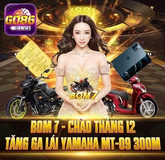 Go86 Club giftcode game 2/12/2020: Bom 7 tháng 12 – Tăng ga lái Yamaha