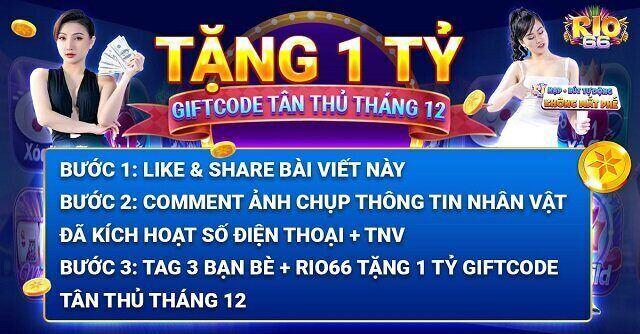 Rio66 Club giftcode game 19/12/2020: Tặng 1 tỷ Code Tân Thủ tháng 12