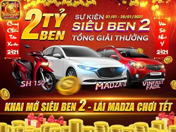 BenVip Club giftcode game 6/1/2020: Siêu Ben 2 – Lái Mazda chơi Tết 2021