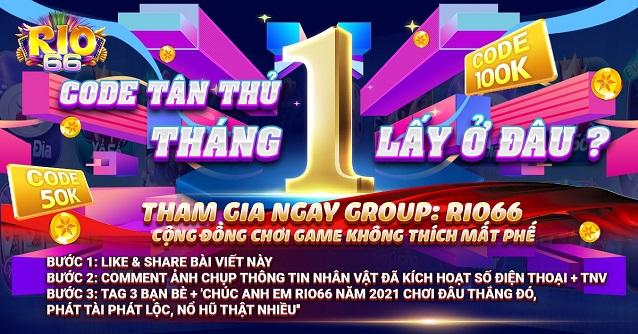 Rio66 Club giftcode game 6/1/2020: Báo danh Tân Thủ tháng 1